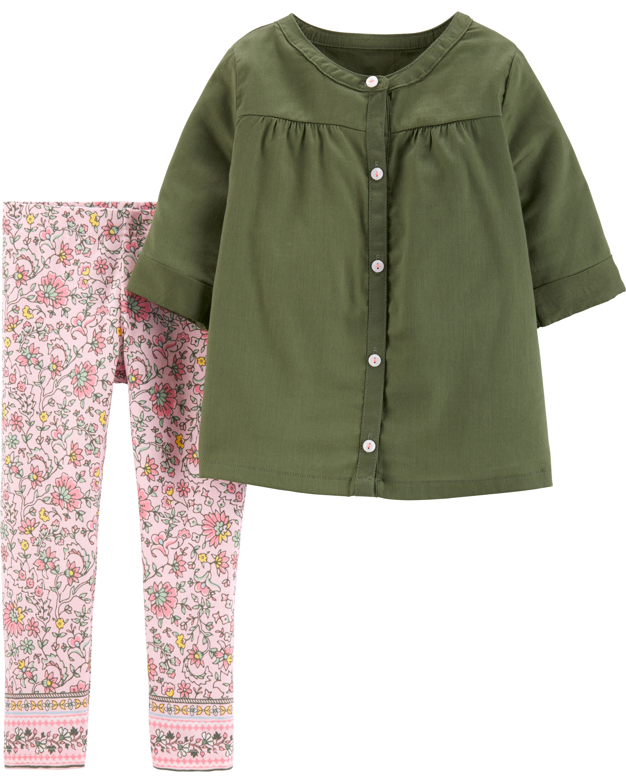 Carter/'s Little Girls/' Stretch Pants 3t, Olive Flowers