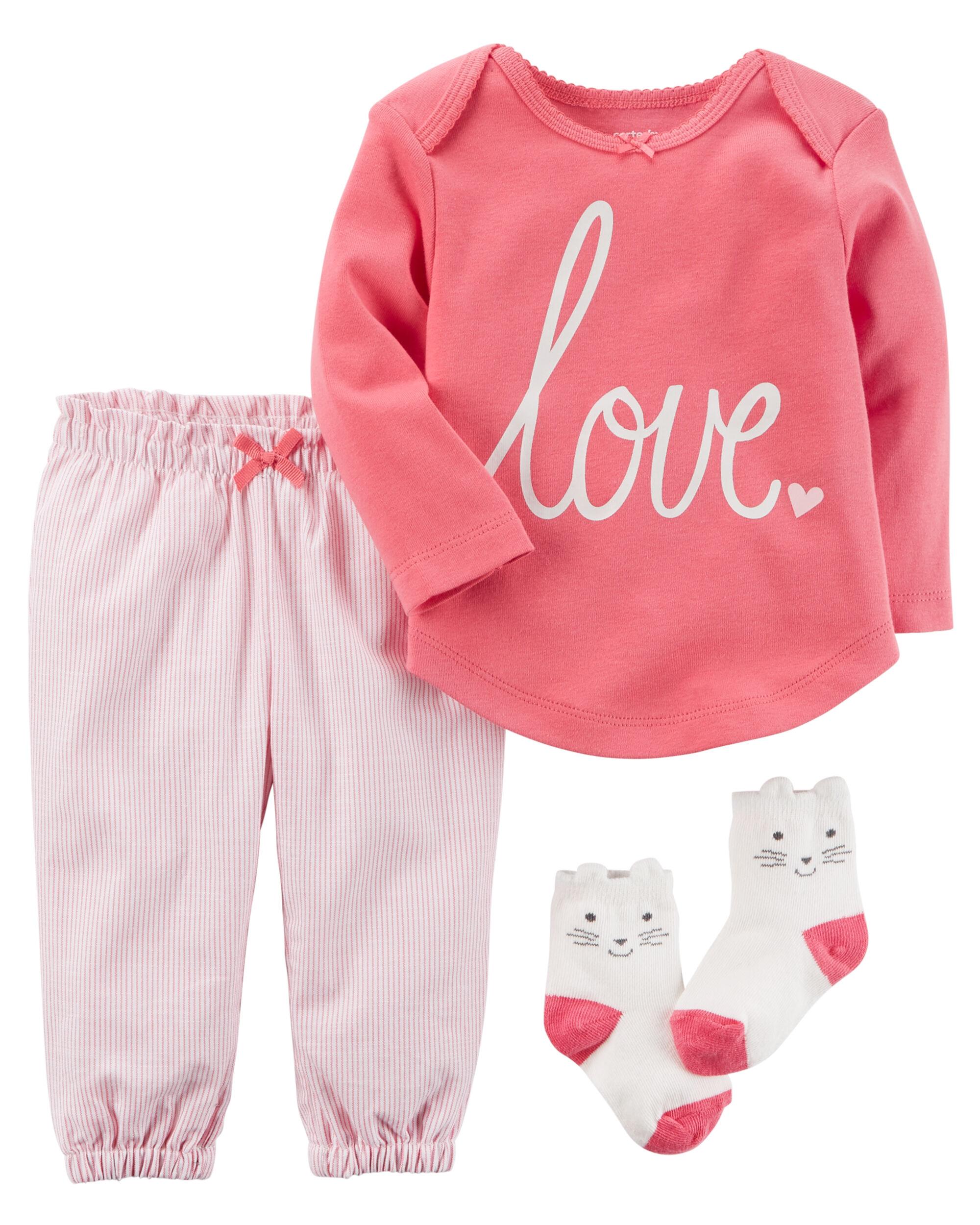 3 piece babysoft tee pant set - Valentines Day Pajamas