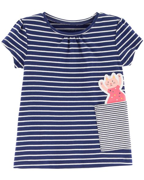 Striped Cat Pocket Tee