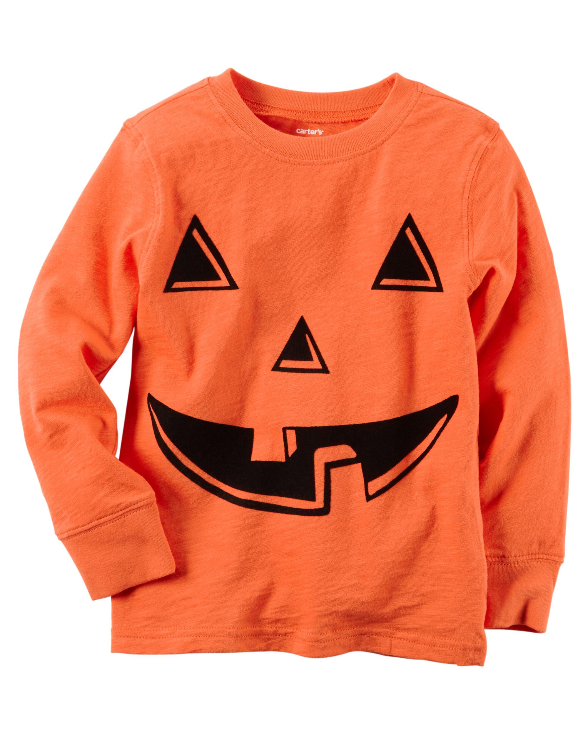Images Long Sleeve Pumpkin Face Halloween Tee