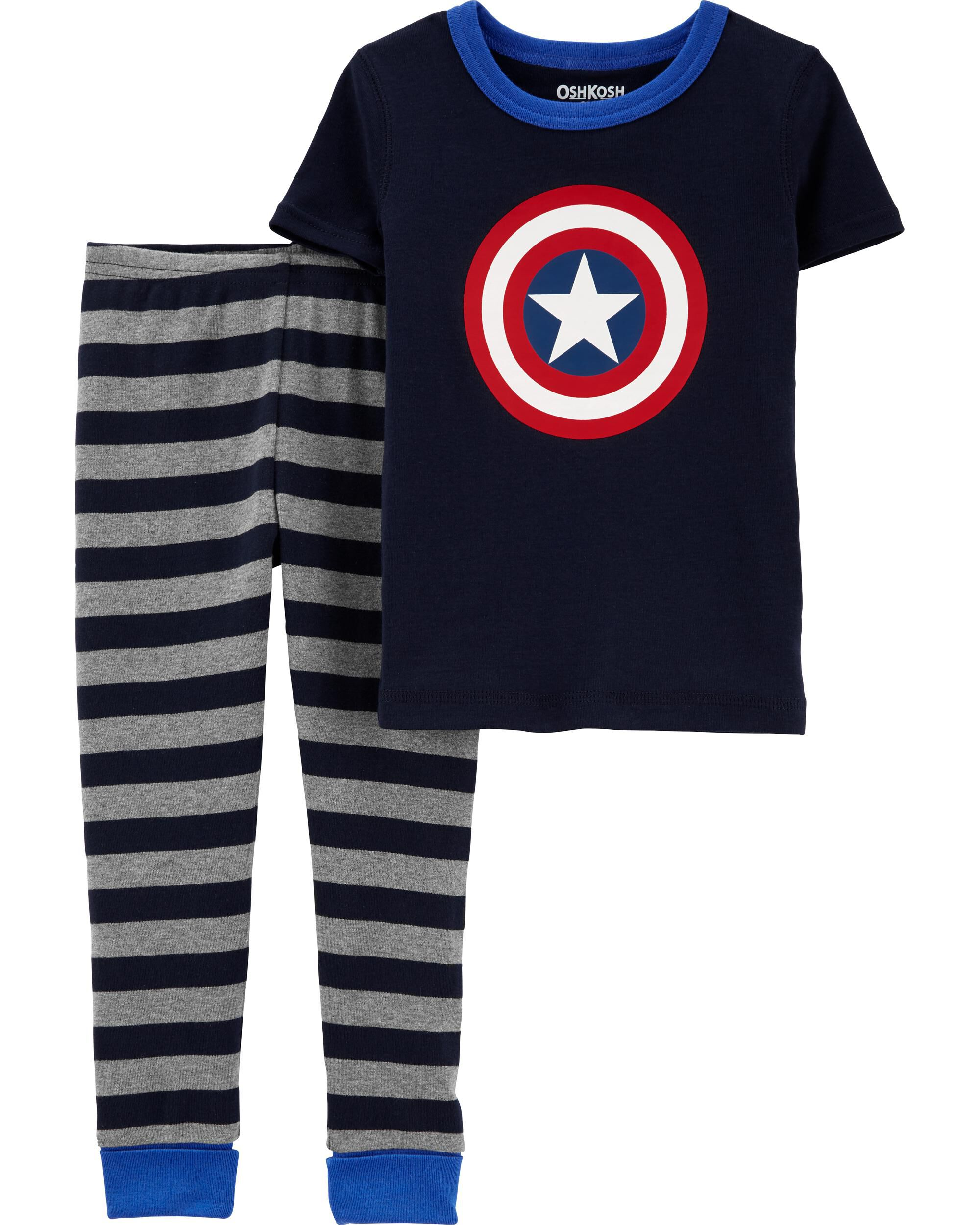 Kid Carters Little Boys 3 Piece Print Pant PJ Set 7 - Captain Amazing