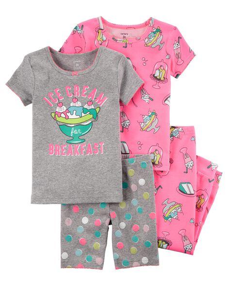 8f3750521b62 4-Piece Neon Snug Fit Cotton PJs