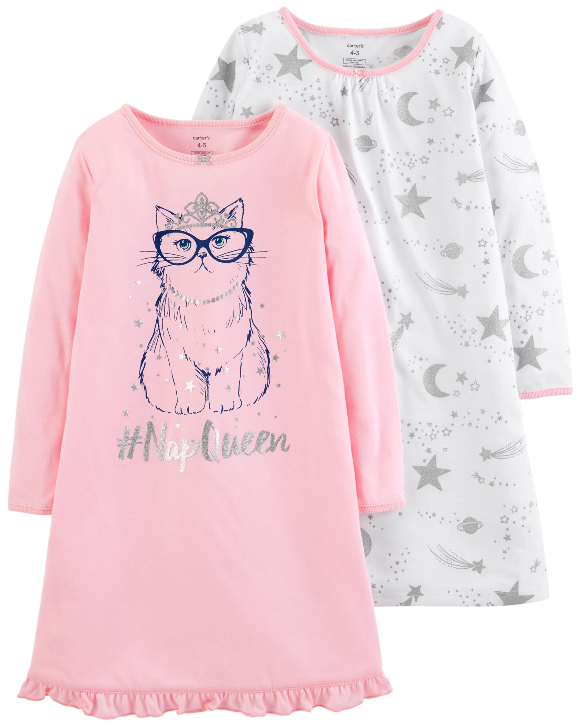 ad57ab1f33 2-Pack Kitty Nightgowns. Loading zoom