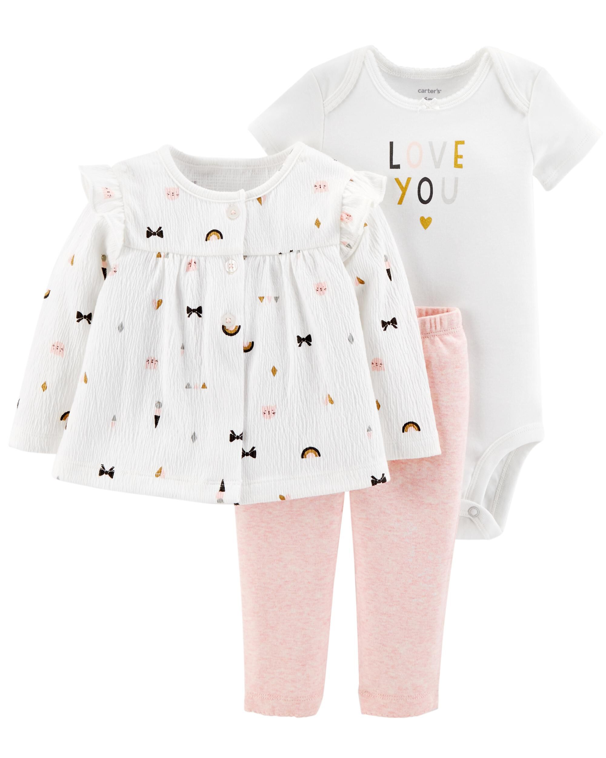 Carter/'s NWT 3M 6M Infant HELLO CUTIE Girl 3Pc Bodysuit Pant Set