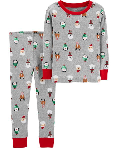 2-Piece Christmas Snug Fit Cotton PJs | Tuggl
