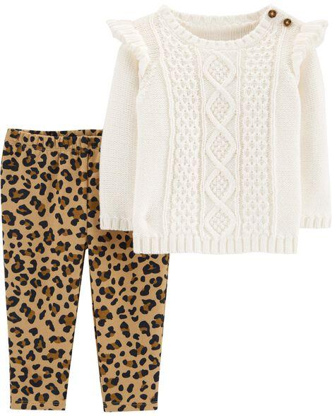 3439766531e9d8 2-Piece Sweater & Leopard Legging Set | Carters.com