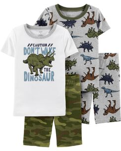 7fc145e436f 4-Piece Dinosaur Snug Fit Cotton PJs