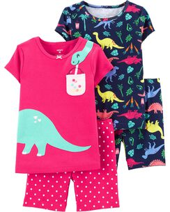 d1a8d90a7c 4-Piece Dinosaur Snug Fit Cotton PJs