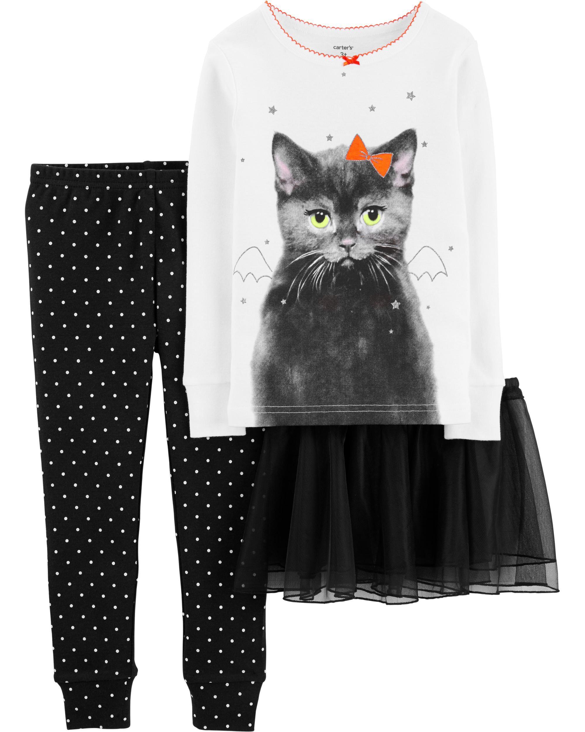 *CLEARANCE* 3-Piece Halloween Tutu Cat Snug Fit Cotton PJs