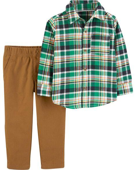 2-Piece Plaid Button-Front Top & Pant Set