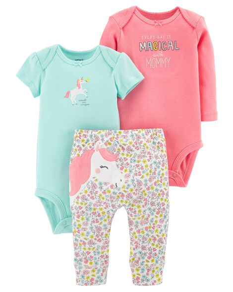 57b52d453 Baby Girl 3-Piece Unicorn Little Character Set | Carters.com