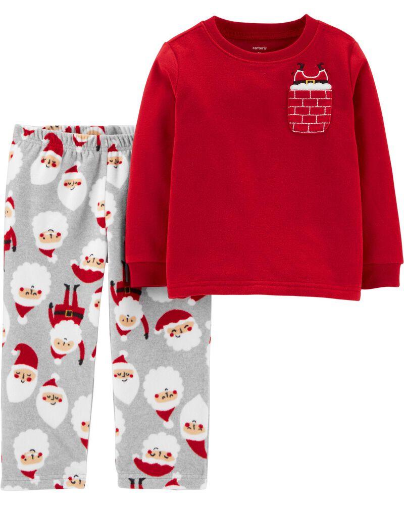 Sz 12 Months New Carter/'s Boy/'s 2 Piece Appliqued CHRISTMAS Santa Claus Pajamas