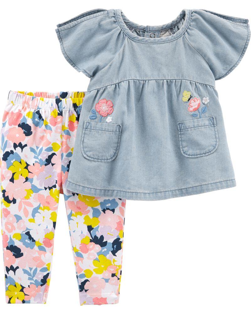 Carter/'s Girls 2pc blue//floral tunic /& leggings multi size bin 6-7