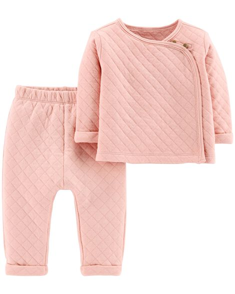 2-Piece Quilted Heather Top &  Pant Set