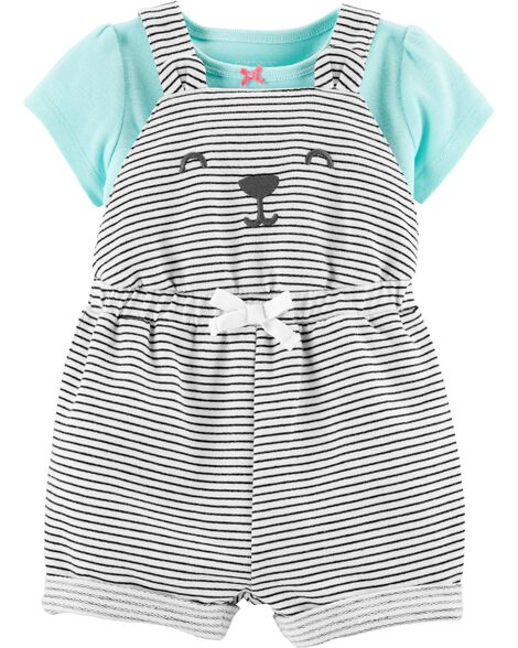 2-Piece Tee & Bear Shortalls Set
