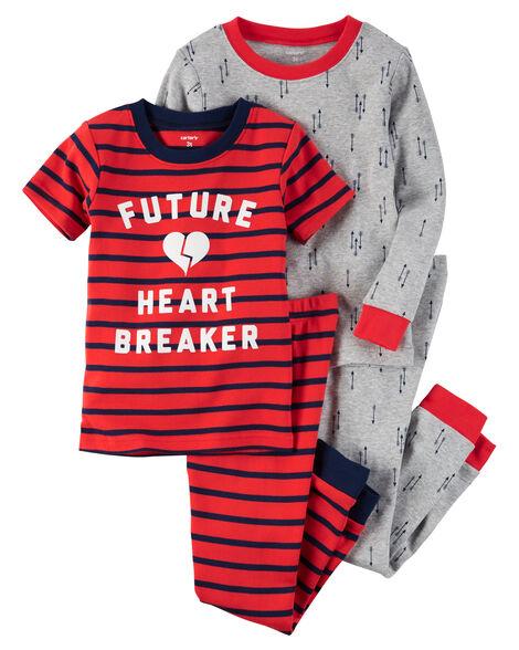27cc19002 4-Piece Snug Fit Cotton Future Heart Breaker PJs | Carters.com