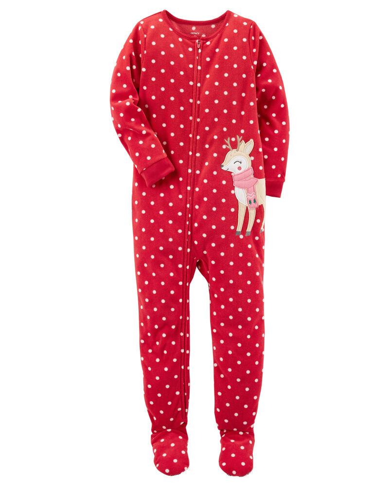 Carters Boys Girls Sleepwear Red Christmas Pajamas Reindeer Feet 1 Piece 24M