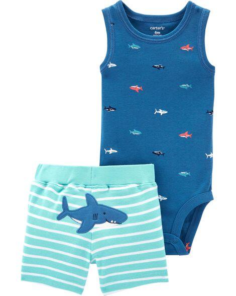 2-Piece Shark Bodysuit & Short Set