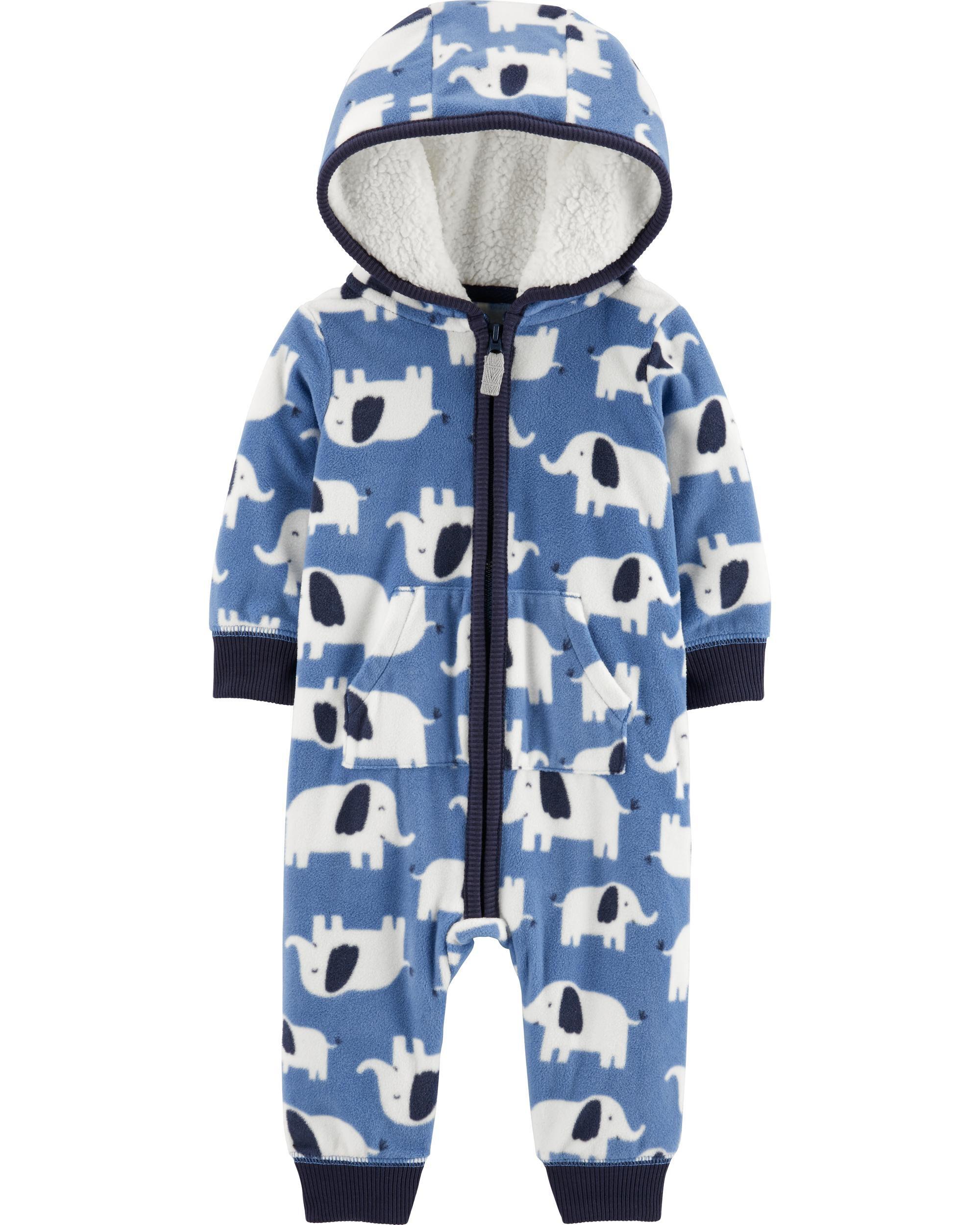 Elephant Hooded Fleece Jumpsuit