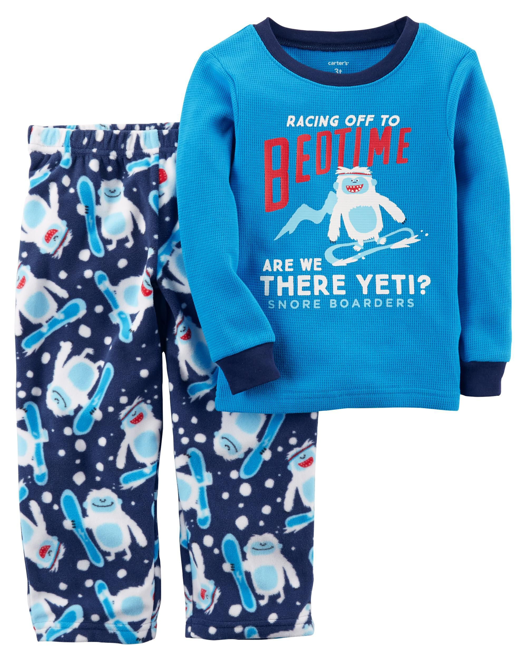 Carters Little Boys 2-Piece Cotton /& Fleece Pajamas 2-Toddler
