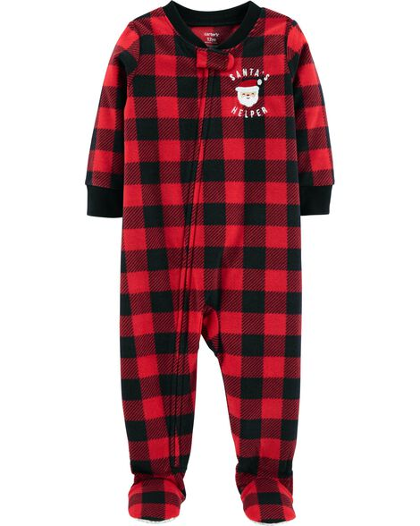 90404370efbc 1-Piece Kid Christmas Fleece PJs