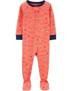 1-Piece Shark Snug Fit Cotton Footie PJs 5362715b7