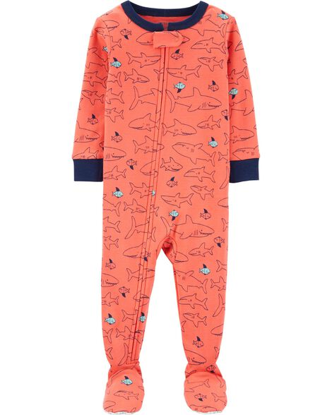 67de2e59b653 1-Piece Shark Snug Fit Cotton Footie PJs