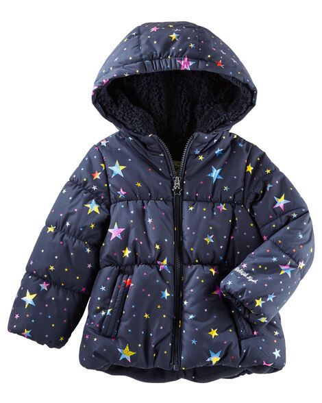 3e89c56fbb6e Toddler Girl Hooded Heavyweight Bubble Jacket
