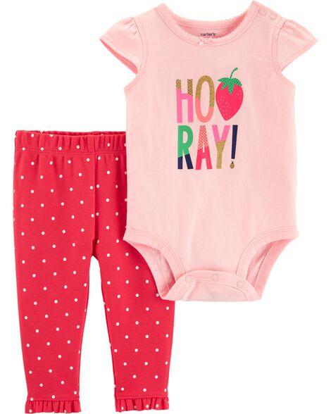 d91f754c1 2-Piece Strawberry Bodysuit Pant Set | Carters.com