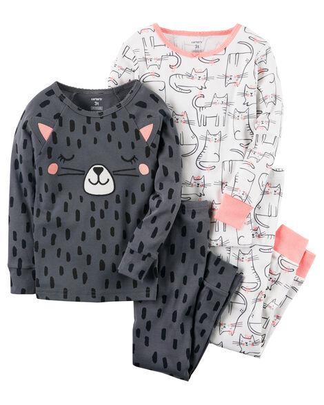 615005d338 4-Piece Cat Snug Fit Cotton PJs