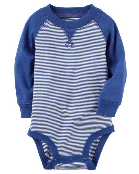 093561e13 Long-Sleeve Raglan Striped Bodysuit | Carters.com