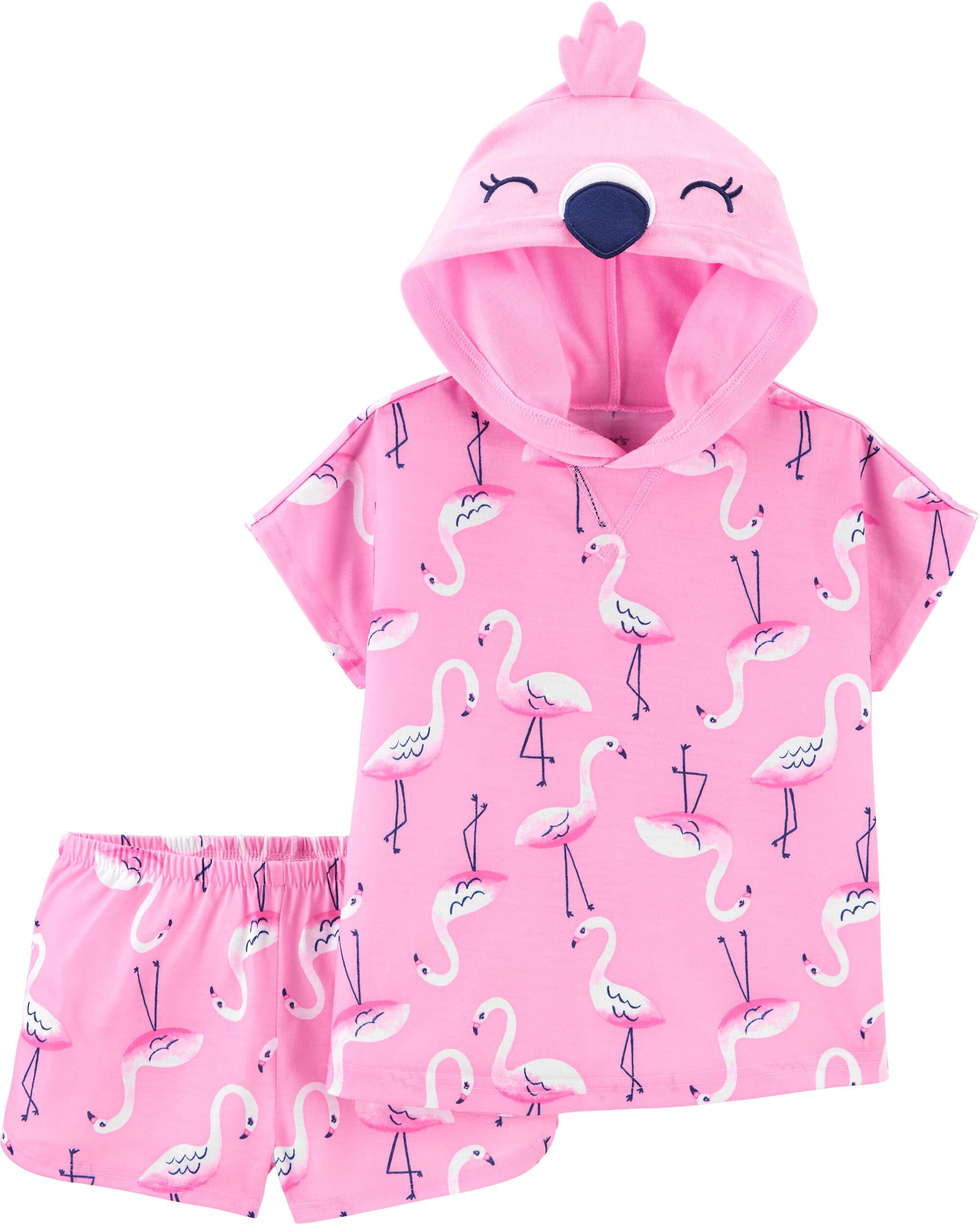 2-Piece Flamingo Hooded Poly PJs