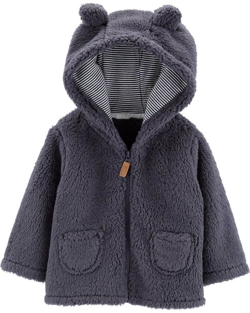 Carters Baby Boys Hooded Sweater Jacket With Sherpa Lining