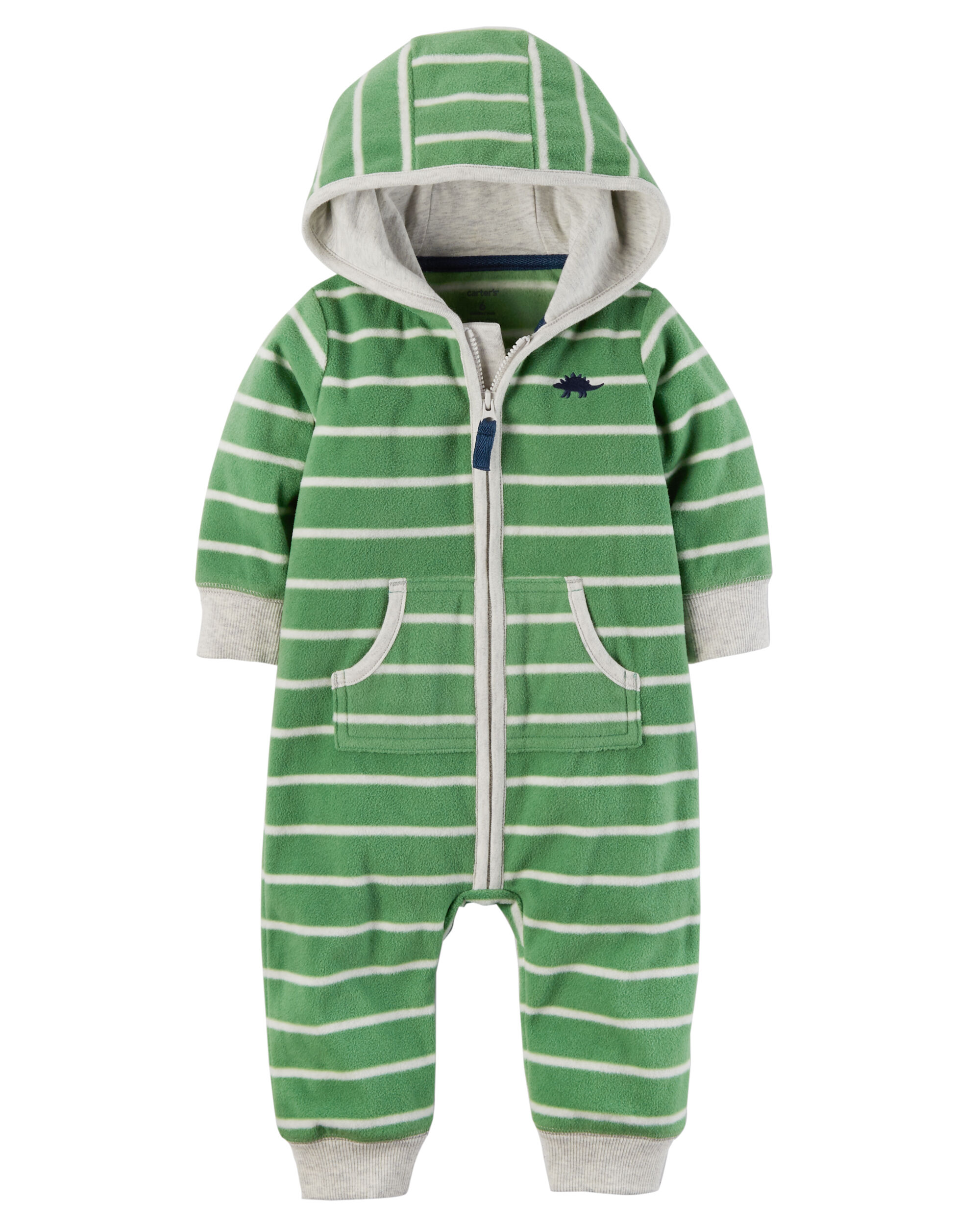 dino hooded fleece jumpsuit
