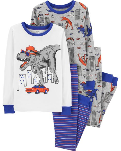 4-Piece Dinosaur Snug Fit Cotton PJs | Tuggl