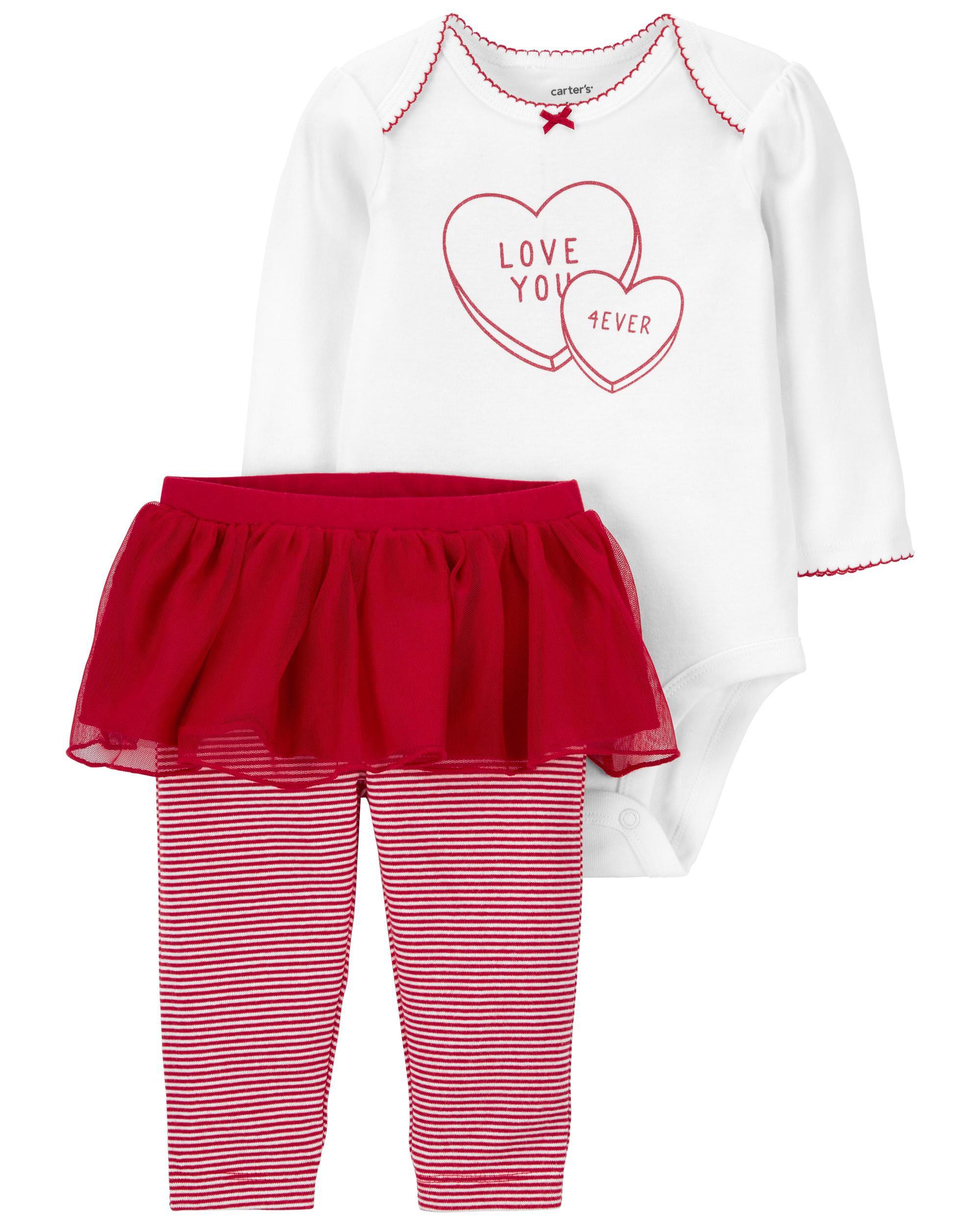 *CLEARANCE* 2-Piece Valentine's Day Bodysuit & Tutu Pant Set