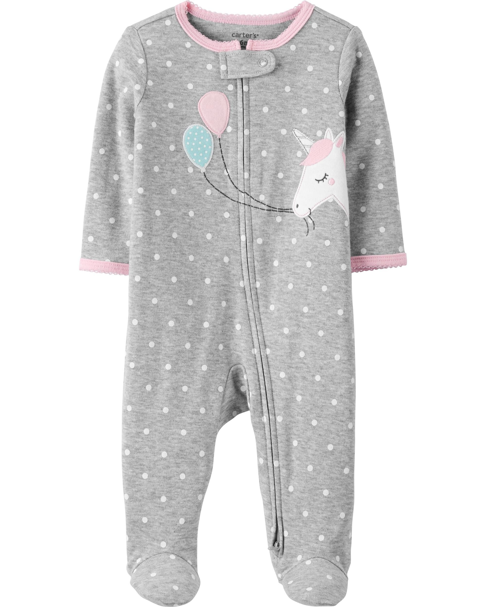 Carters Baby Girls Footed Coveralls