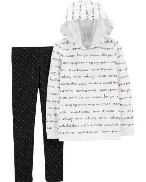 2-Piece Slogan Hoodie & Polka Dot Legging Set