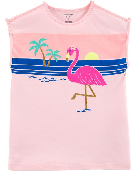 Beach Flamingo Jersey Tee