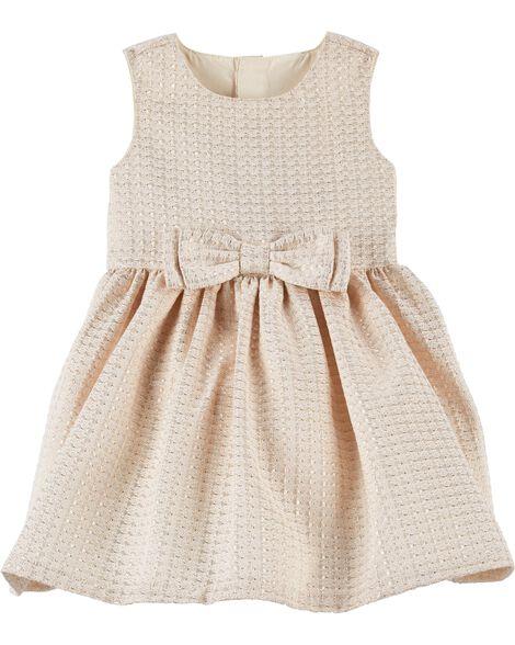 cb1ec653b Jacquard Bow Holiday Dress | Carters.com