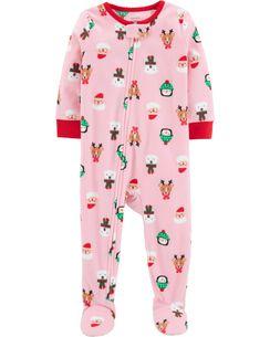 1 piece baby christmas fleece pjs