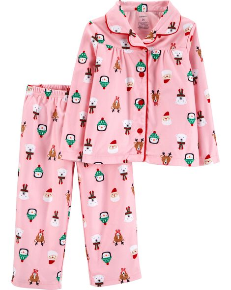 3bf79cb52c8b 2-Piece Toddler Christmas Coat Style Fleece PJs