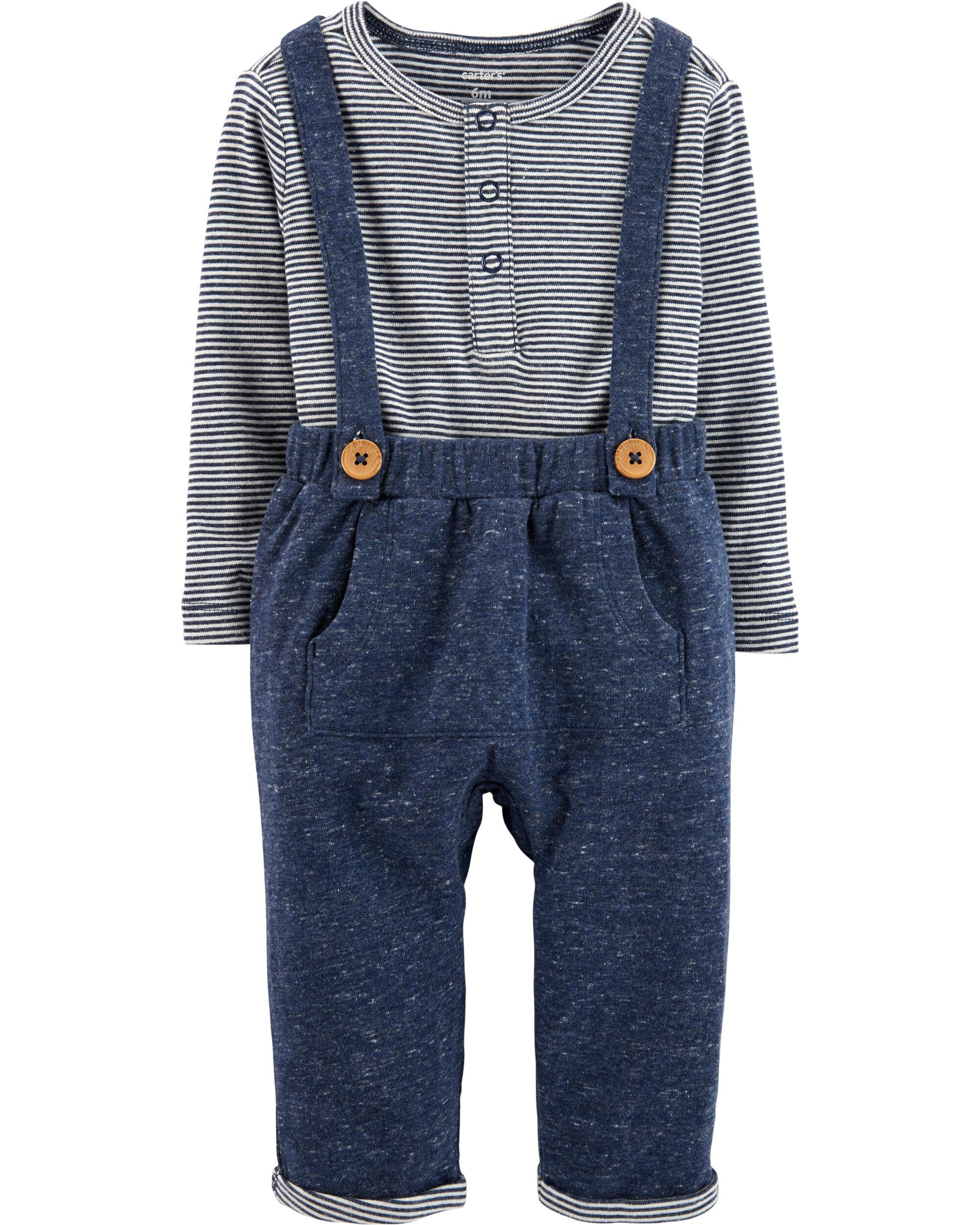 Carters Baby Boy Bear Terry Coverall Hat Bib Set Size Newborn 9 Months Navy  Grey 8cd29363f7ed
