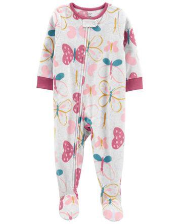1-Piece Butterfly Fleece Footie PJs
