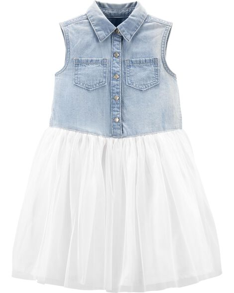 1d166b9d594 Baby Girl Tulle Skirt Denim Dress