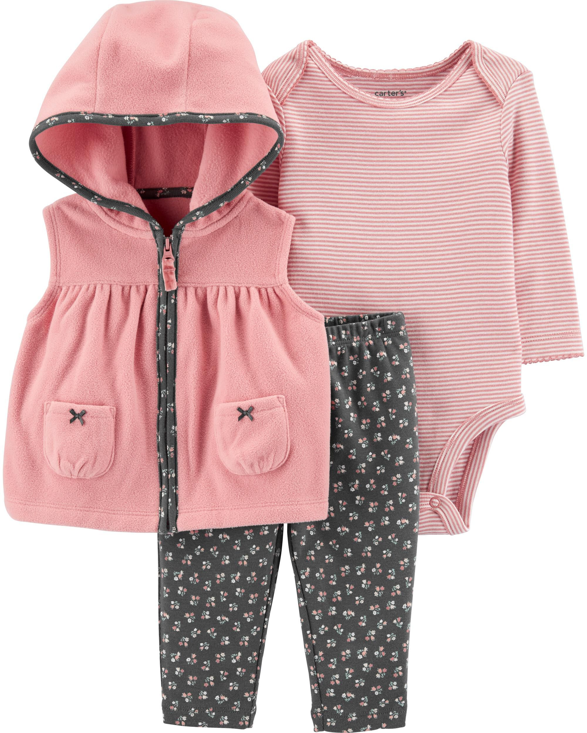 Carters 3 18 Months Hooded Red Vest Bodysuit Pants Set Baby Girl Clothes Holiday