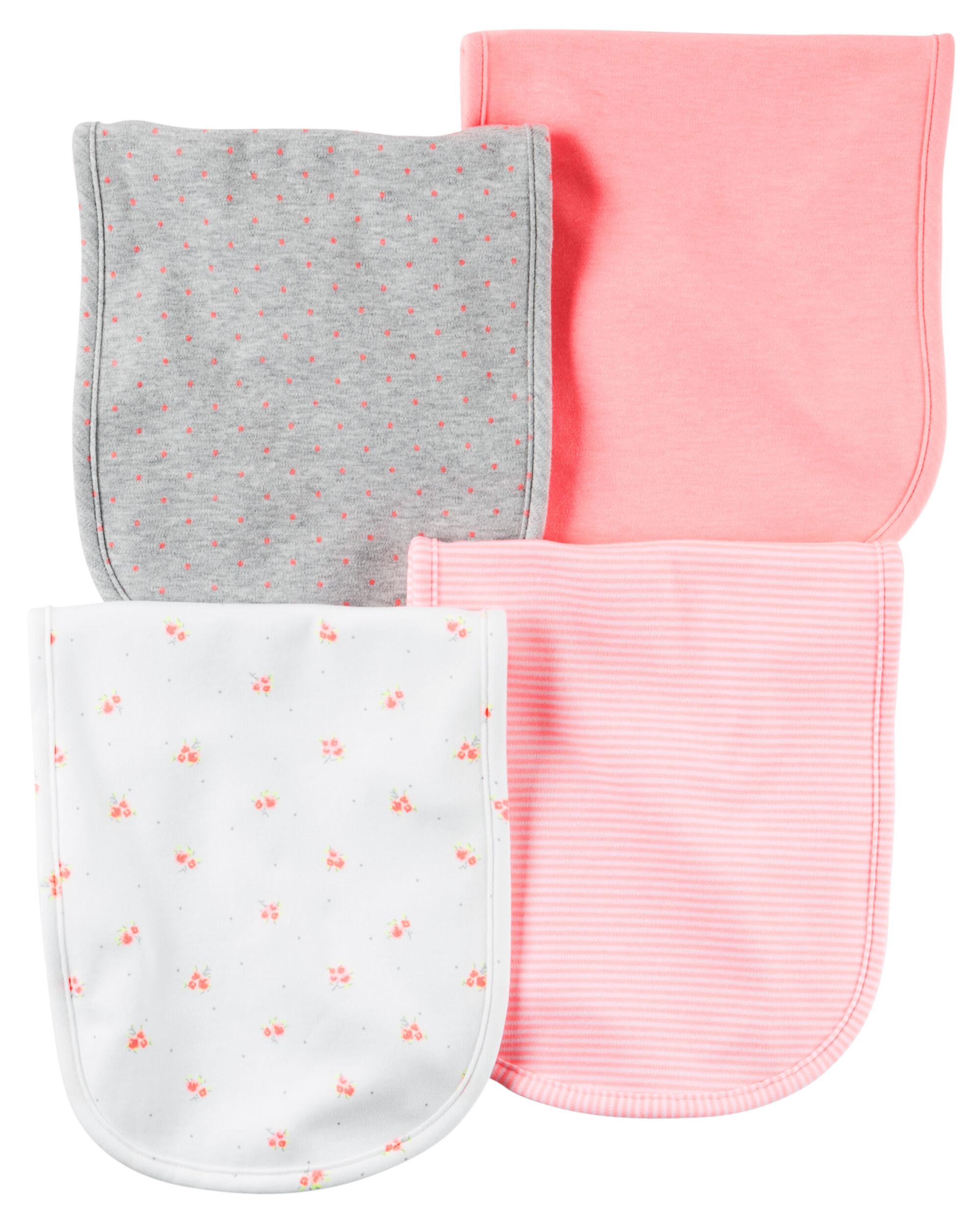 Carters Baby Girls 4-Pack Burp Cloths