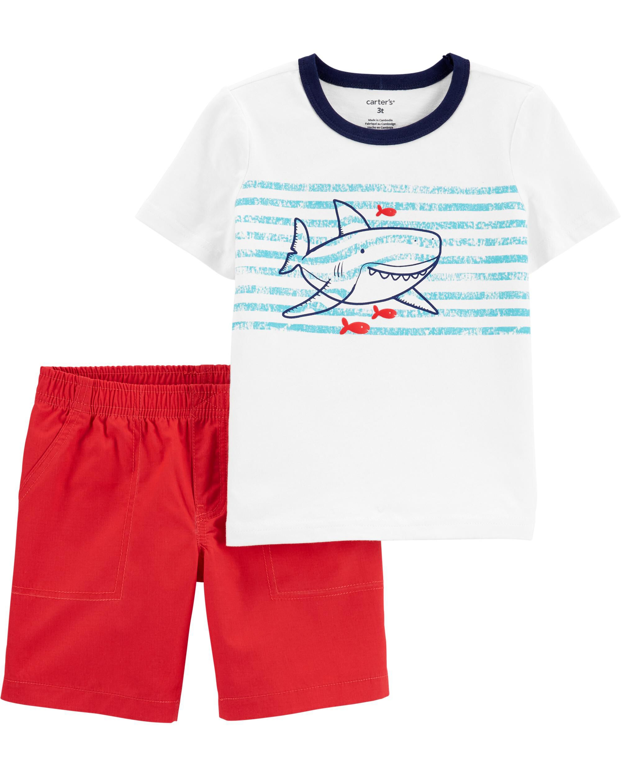 2-Piece Striped Shark Jersey Tee & Poplin Short Set