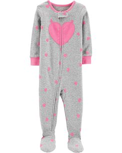48a40f5513 1-Piece Heart Footed Snug Fit Cotton PJs