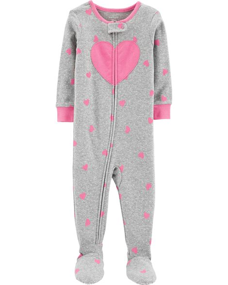 1-Piece Heart Footed Snug Fit Cotton PJs